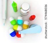 syringe  tablet  pill jar. 3d... | Shutterstock . vector #574468036