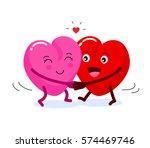 two happy heart character in... | Shutterstock .eps vector #574469746