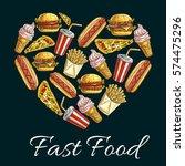 i love fast food heart shape...   Shutterstock .eps vector #574475296