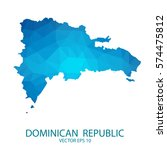 dominican republic map   blue... | Shutterstock .eps vector #574475812