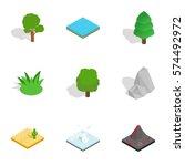 natural landscape icons set.... | Shutterstock .eps vector #574492972