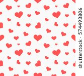red hearts seamless pattern.... | Shutterstock .eps vector #574493806