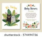 baby shower invitation card... | Shutterstock .eps vector #574494736