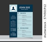 resume and cv vector template.... | Shutterstock .eps vector #574501912