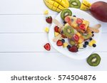 ice cream from fruit on a white ...   Shutterstock . vector #574504876