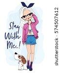 cute girl | Shutterstock .eps vector #574507612