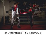 woman kick box  training kicks... | Shutterstock . vector #574509076
