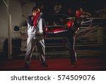 woman kick box  training kicks... | Shutterstock . vector #574509076