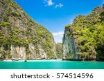 tropical island phi phi  krabi...   Shutterstock . vector #574514596