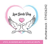 love birds day pink   blue... | Shutterstock .eps vector #574526242