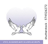 love birds purple heart of... | Shutterstock .eps vector #574526272