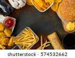 junk food on table. fast... | Shutterstock . vector #574532662