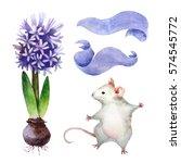 set of watercolor botanical... | Shutterstock . vector #574545772
