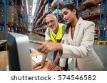 manager and worker are looking... | Shutterstock . vector #574546582