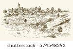rural village landscape. hand... | Shutterstock .eps vector #574548292