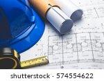 engineering diagram blueprint... | Shutterstock . vector #574554622