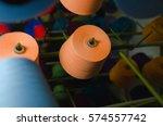 textile industry   yarn spools... | Shutterstock . vector #574557742