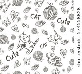 hand drawn cats seamless vector ... | Shutterstock .eps vector #574558828