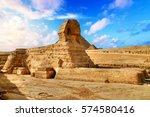 egyptian sphinx in giza near...   Shutterstock . vector #574580416