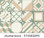 vintage patchwork tiles. old... | Shutterstock .eps vector #574583095
