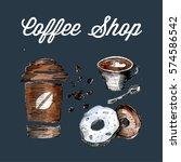 pattern coffee shop elements... | Shutterstock .eps vector #574586542