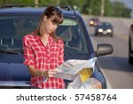 young woman in front of a car... | Shutterstock . vector #57458764