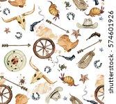 wild west. watercolor seamless... | Shutterstock . vector #574601926