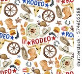 rodeo. watercolor seamless... | Shutterstock . vector #574602388