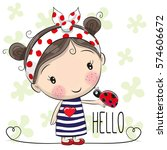 cute cartoon girl with a bow... | Shutterstock . vector #574606672