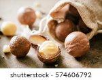 closeup view of macadamia nuts...   Shutterstock . vector #574606792
