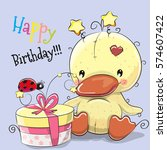 greeting birthday card cute... | Shutterstock . vector #574607422