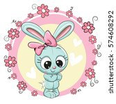 greeting card bunny girl with... | Shutterstock . vector #574608292