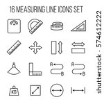 set of measuring icons in... | Shutterstock .eps vector #574612222