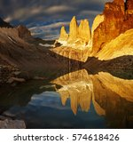 towers at sunrise  torres del... | Shutterstock . vector #574618426