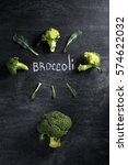 top view picture of broccoli... | Shutterstock . vector #574622032