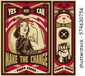vintage propaganda poster and... | Shutterstock .eps vector #574630756