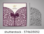 laser cut invitation card.... | Shutterstock .eps vector #574635052