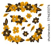 collection of yellow flowers... | Shutterstock .eps vector #574635376