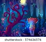 dark magic enchanted forest...   Shutterstock .eps vector #574636576