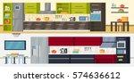 modern kitchen horizontal... | Shutterstock .eps vector #574636612