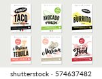 sketch mexican food posters... | Shutterstock .eps vector #574637482