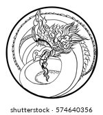 hand drawn thai dragon in... | Shutterstock .eps vector #574640356
