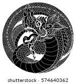 hand drawn thai dragon in... | Shutterstock .eps vector #574640362