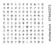vector line icons with... | Shutterstock .eps vector #574642372