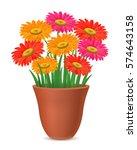 gerberas in flower pot | Shutterstock .eps vector #574643158