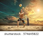 beach volleyball player in... | Shutterstock . vector #574645822