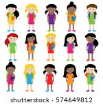 collection of cute and diverse... | Shutterstock .eps vector #574649812