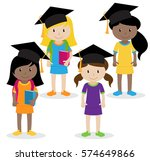collection of cute and diverse... | Shutterstock .eps vector #574649866