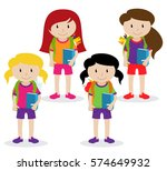collection of cute and diverse... | Shutterstock .eps vector #574649932