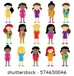 collection of cute and diverse... | Shutterstock .eps vector #574650046